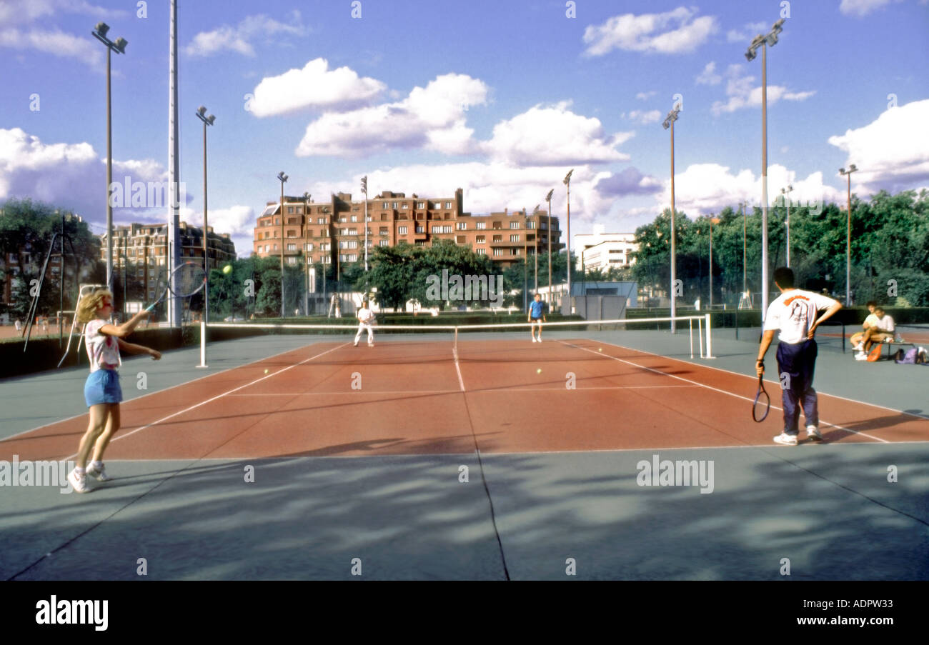 Paris FRANCE  Urban Parks   Teens Playing Tennis  in  Porte Stock     Paris FRANCE  Urban Parks   Teens Playing Tennis  in  Porte d Orleans   Outside Tennis Courts