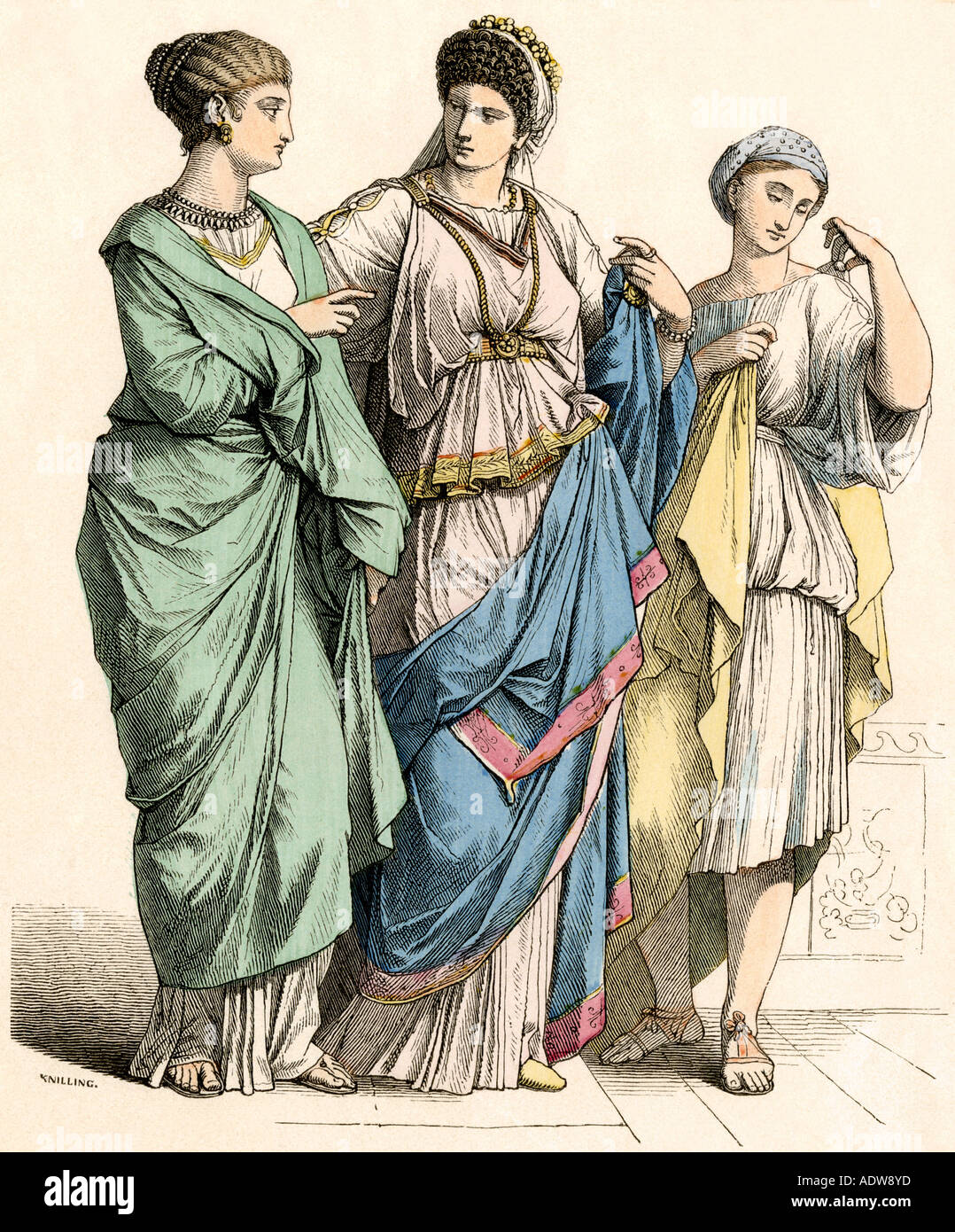 La S And Their Slave Girl In Ancient Rome Stock Photo