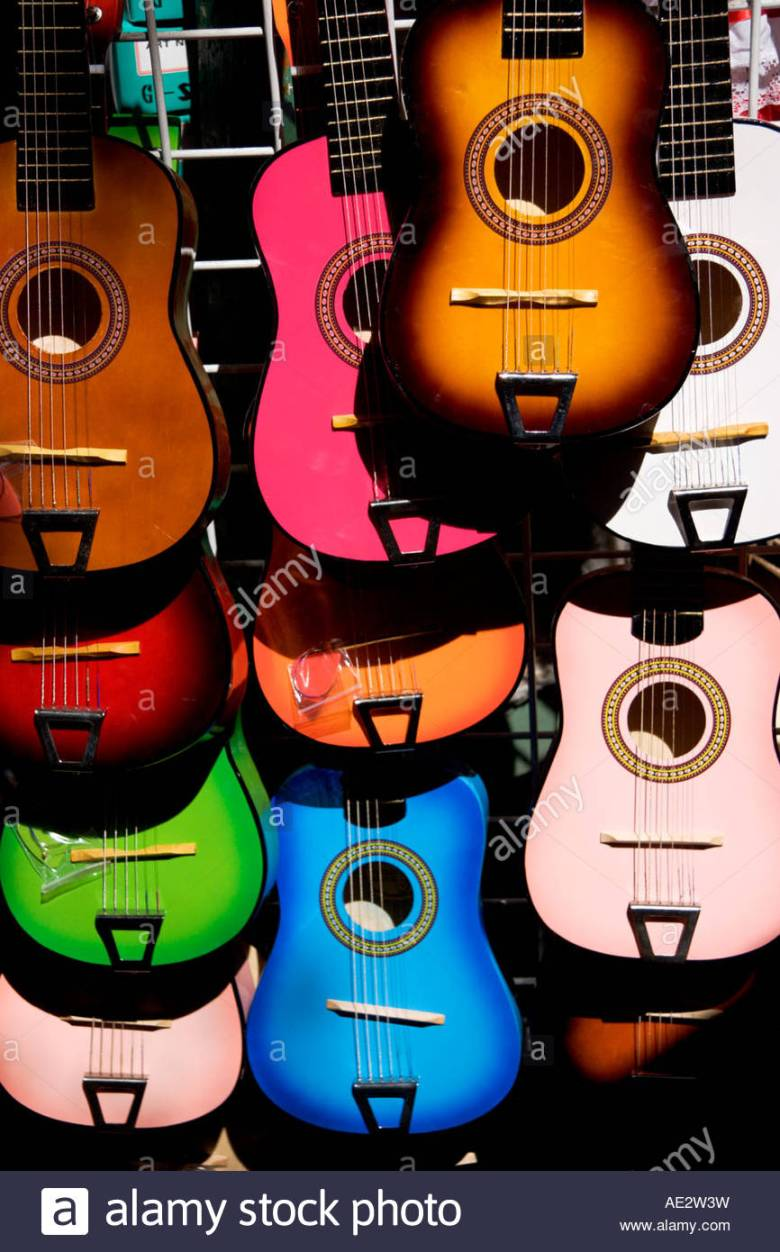colorful guitars at olvera street los angeles california stock photo