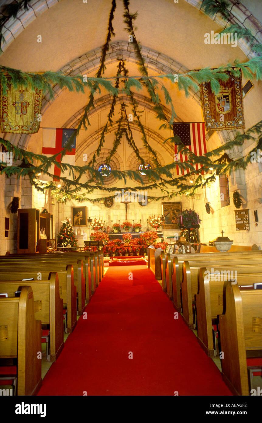 Church Interior Old Florida Usa Christmas Decorations