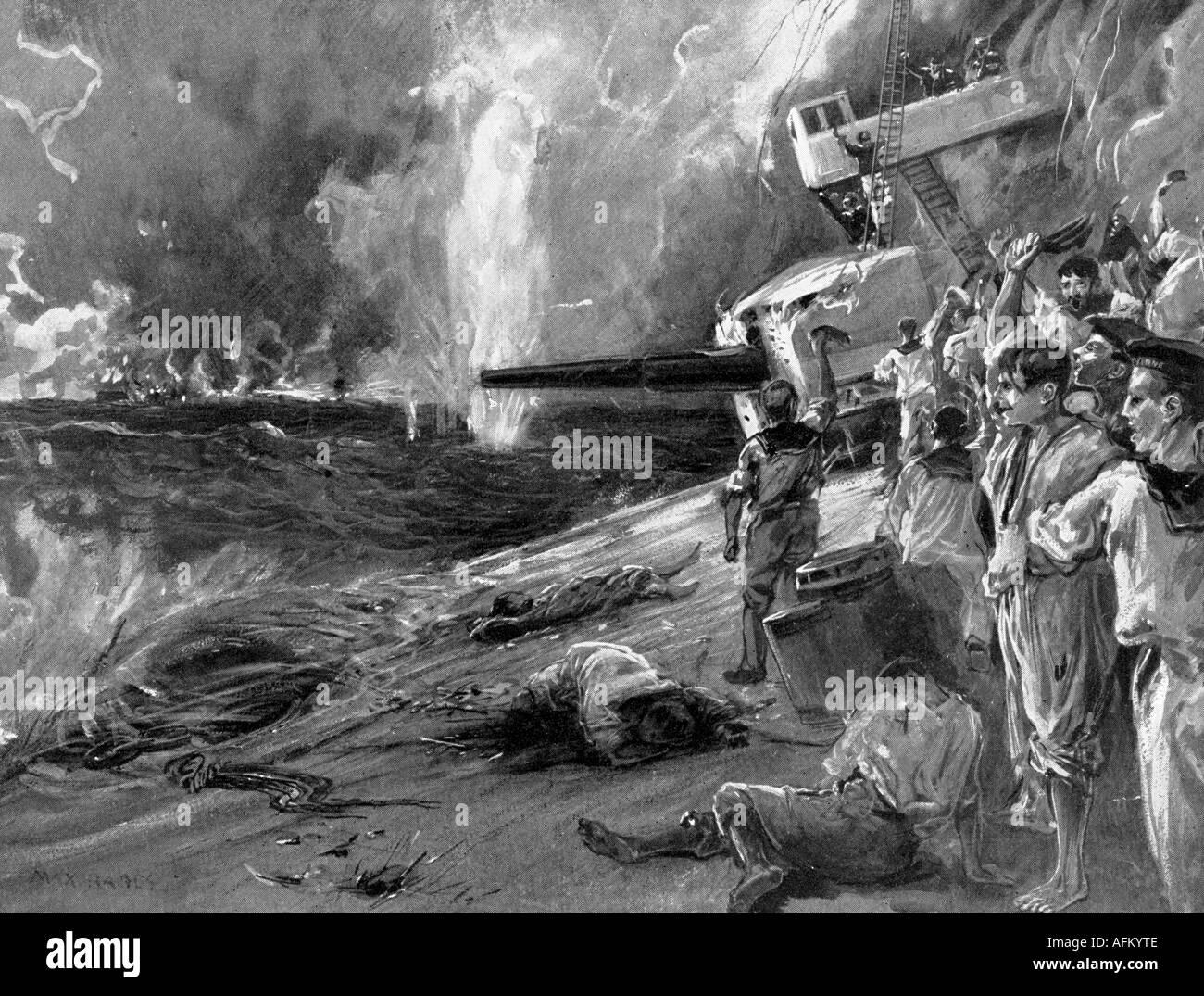 Events First World War Wwi Naval Warfare Battle Of Jutland Stock Photo Royalty Free Image