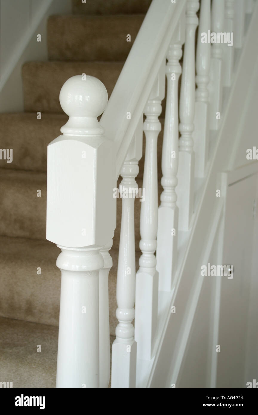 White Stair Case With Balustrade Showing Newel Post And Spindles   Stair Posts And Spindles   Landing   Natural Hardwood   Rectangular   Traditional   Wood