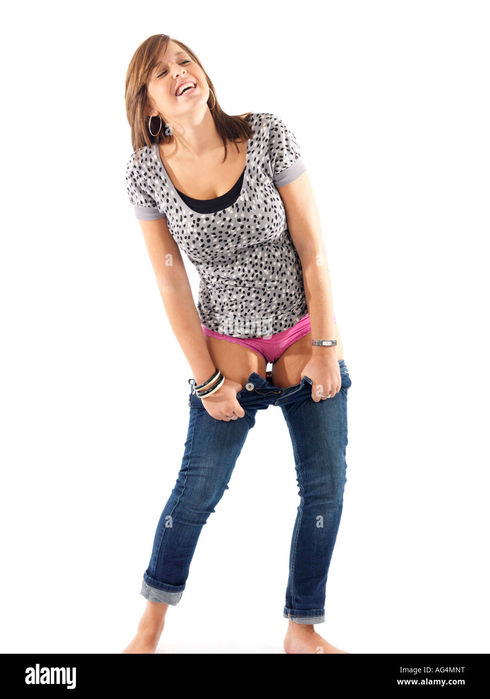 Female Putting Jeans
