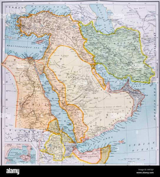 Middle East Map Stock Photos   Middle East Map Stock Images   Alamy Partial map of Middle East in 1890s   Stock Image