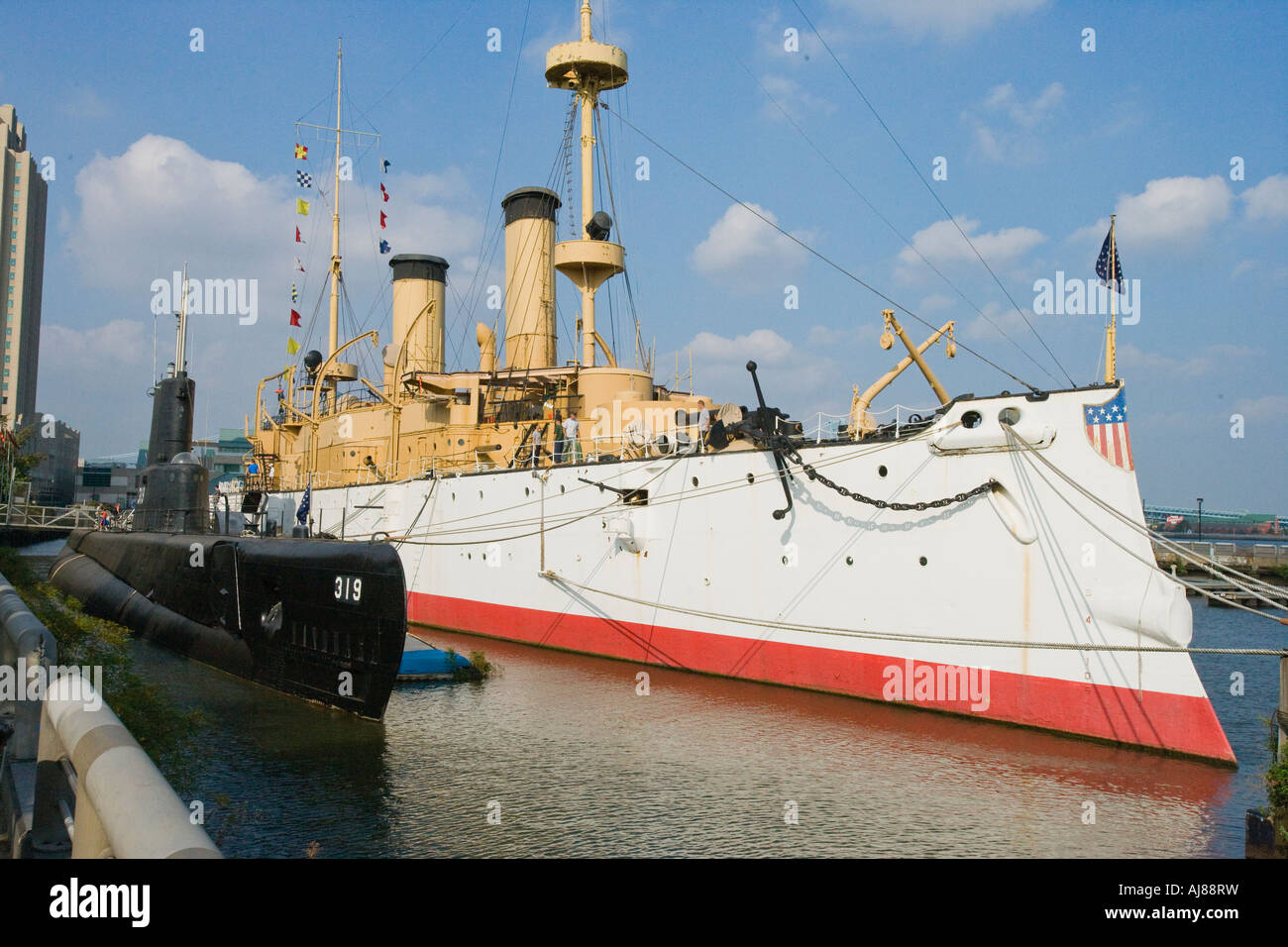 the uss becuna and uss olympia in philadelphia pa stock
