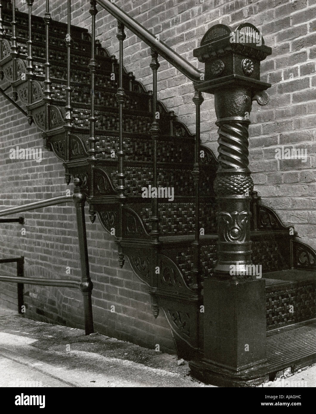 Antique Cast Iron Staircase In Downtown Liberty Missouri Usa | Antique Handrails For Stairs | Antique Brass | Wood | Antique Green | Antique Furniture | Architectural Antiques