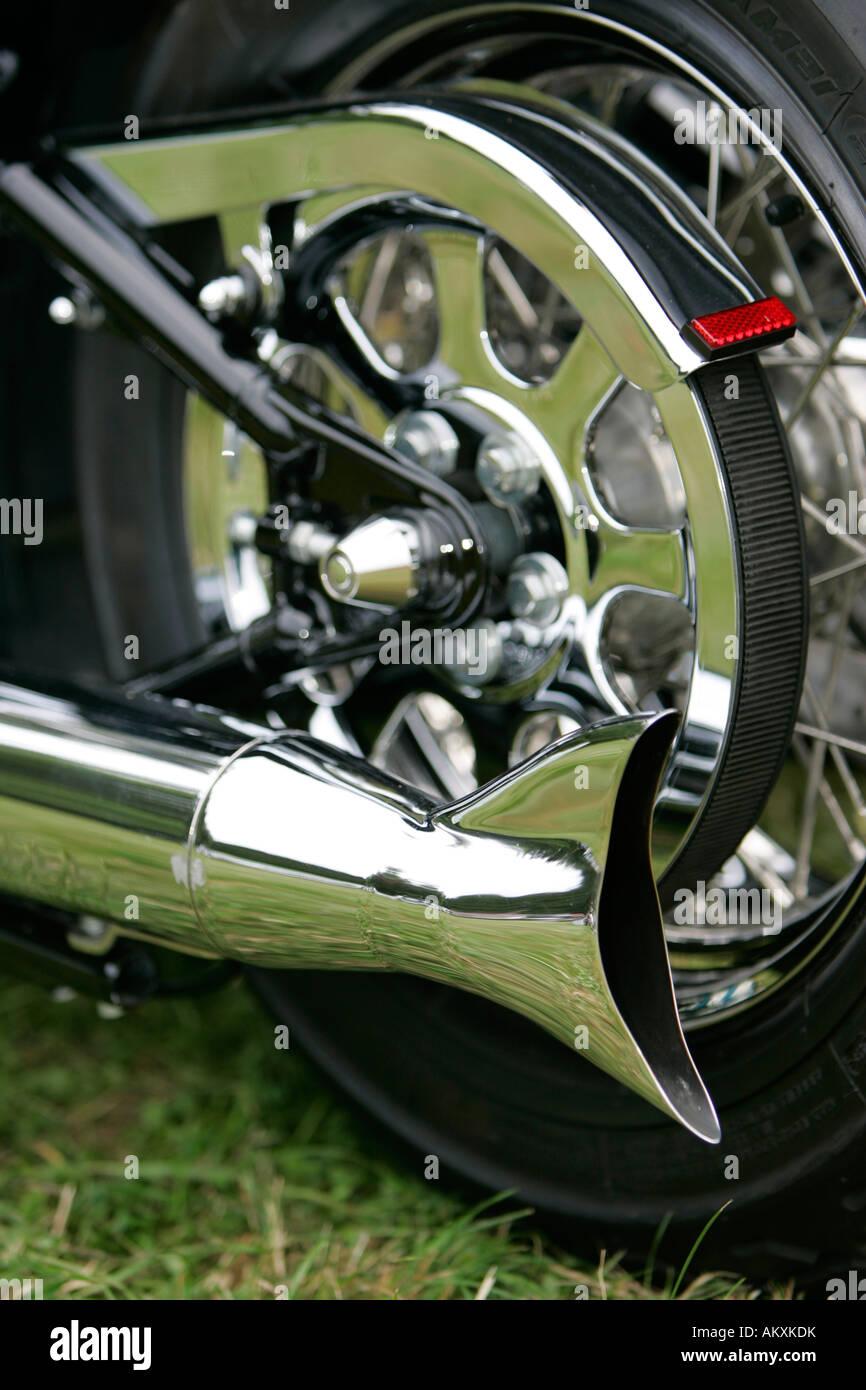 https www alamy com stock photo harley davidson detail exhaust system fishtail 15090702 html