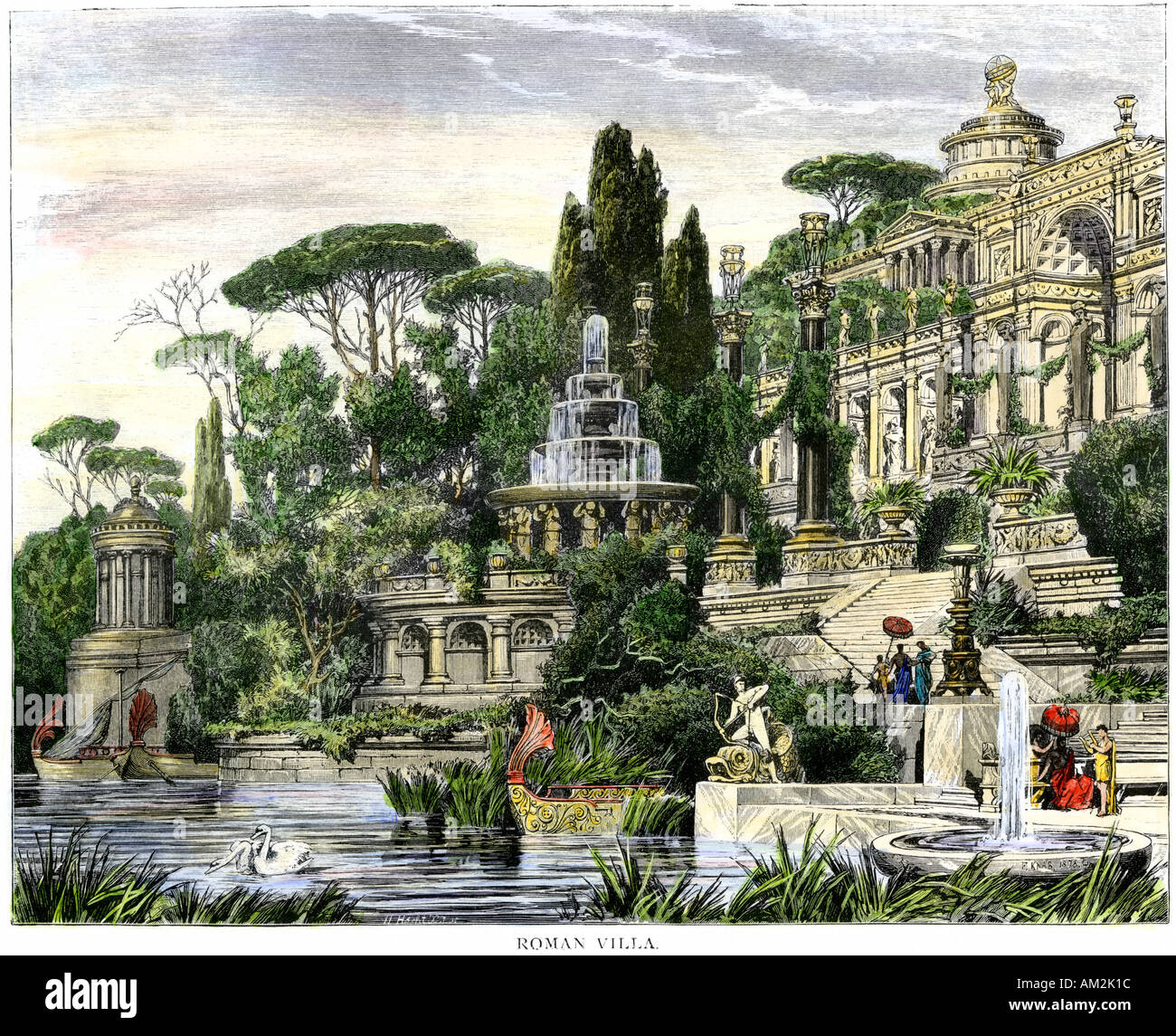 Villa Of A Wealthy Citizen Of Ancient Rome Hand Colored