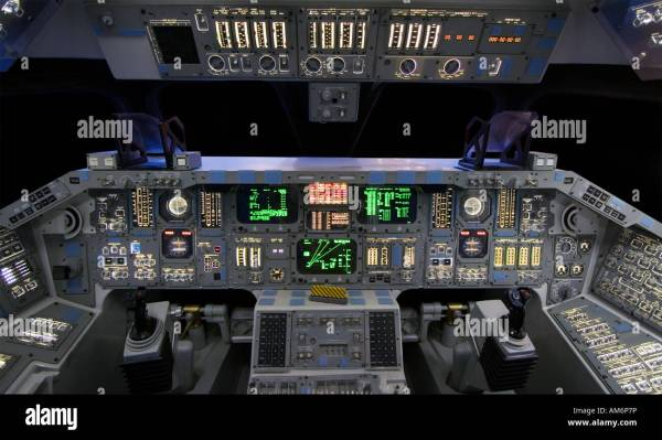 The cockpit of a NASA Space Shuttle Orbiter Stock Photo ...