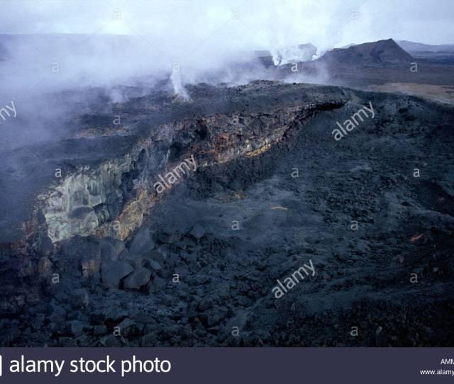 Landscape Krafla Volcano Crater Lava Flow Magma Volcanic Eruption Geology Steam Outdoor Travel Tourism Adventure Iceland Europe