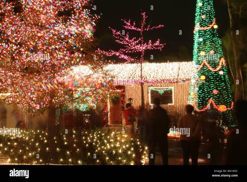 miami florida residential christmas decorations stock photo