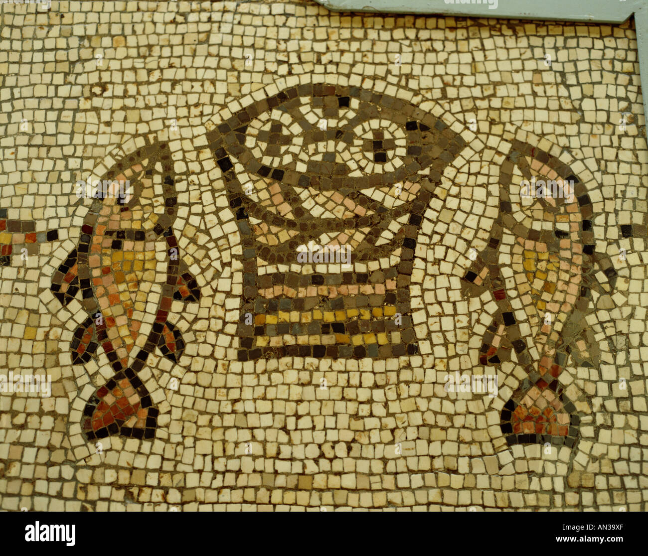 Church Of The Multiplication Mosaic Of The Loaves And The Fishes Stock Photo