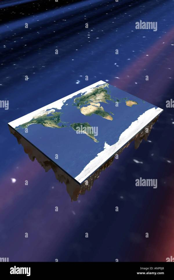 High angle view of a flat rectangle earth floating through ...