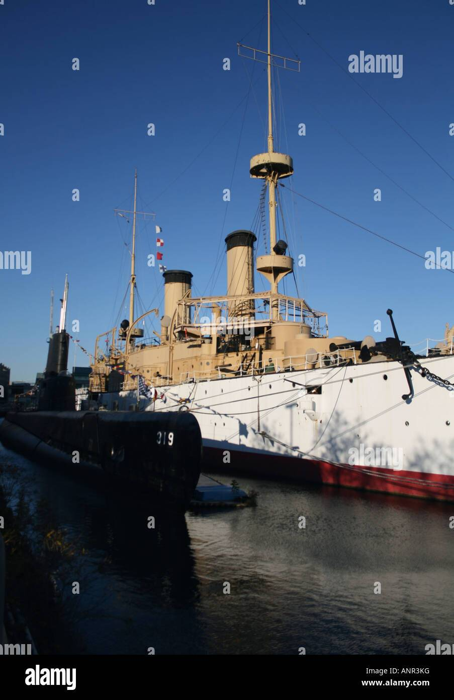 uss becuna and uss olympia at independence seaport museum