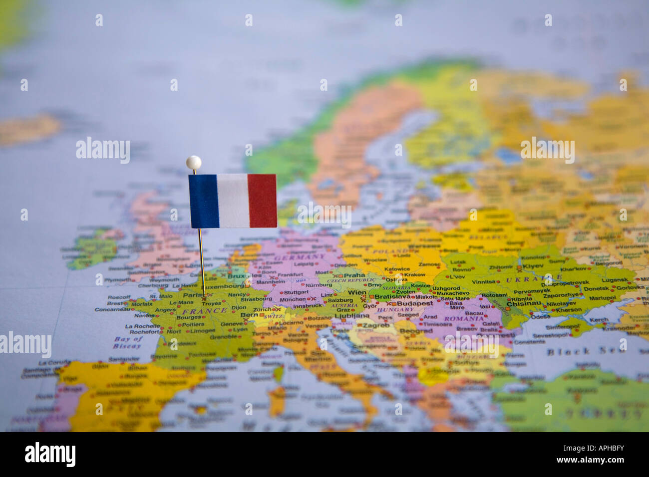 Flag Pin Placed On World Map In The Capital Of France