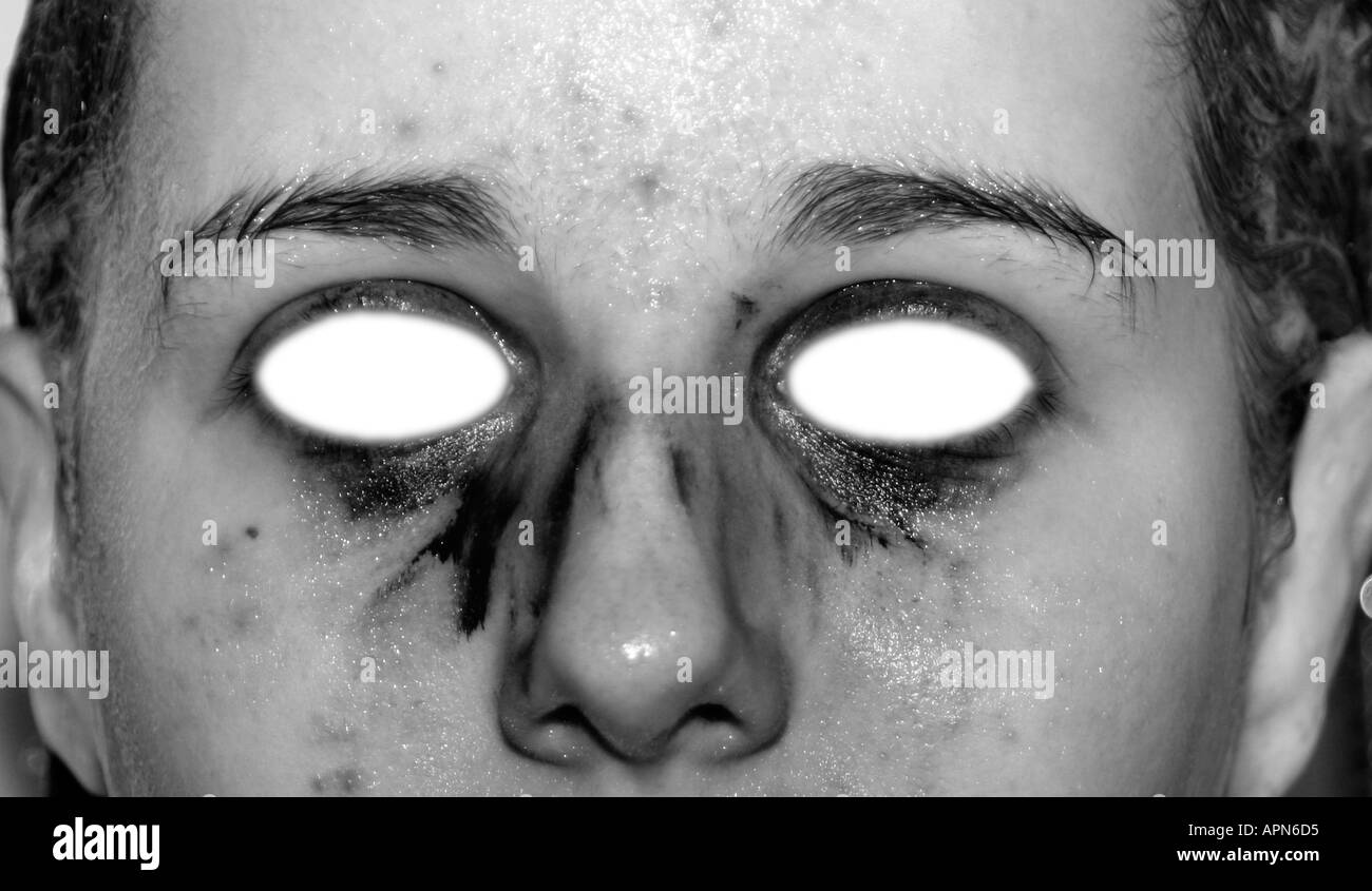 Teenage Girls Face Abstract Close Up With Cut Out Eyes