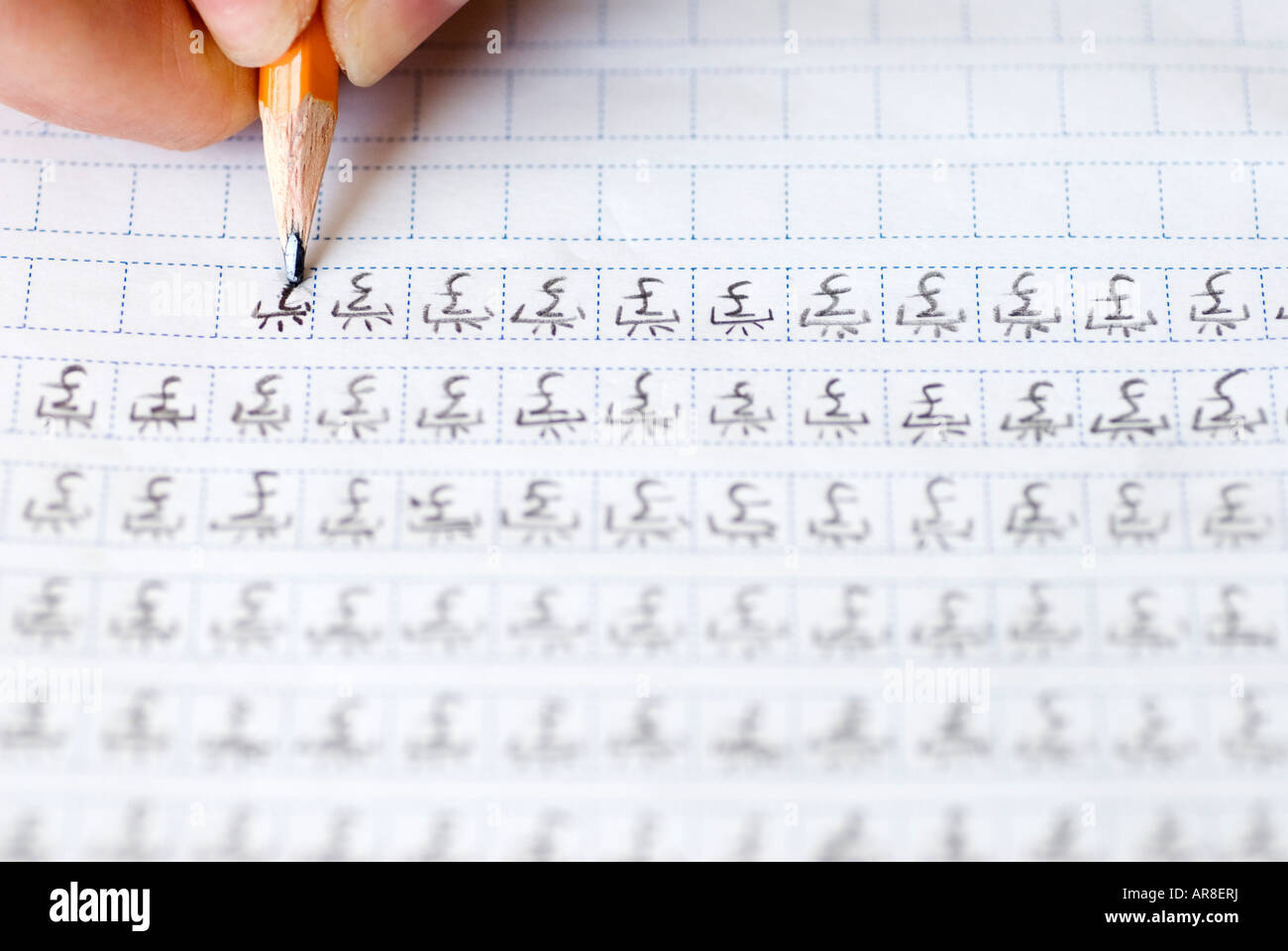 Foreign Student Learning To Write Chinese Characters By