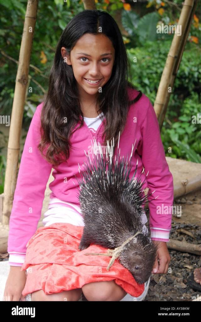 A Sri Lankan Teenage Girl Sitting Posing With A Porcupine Sri Lanka Asia