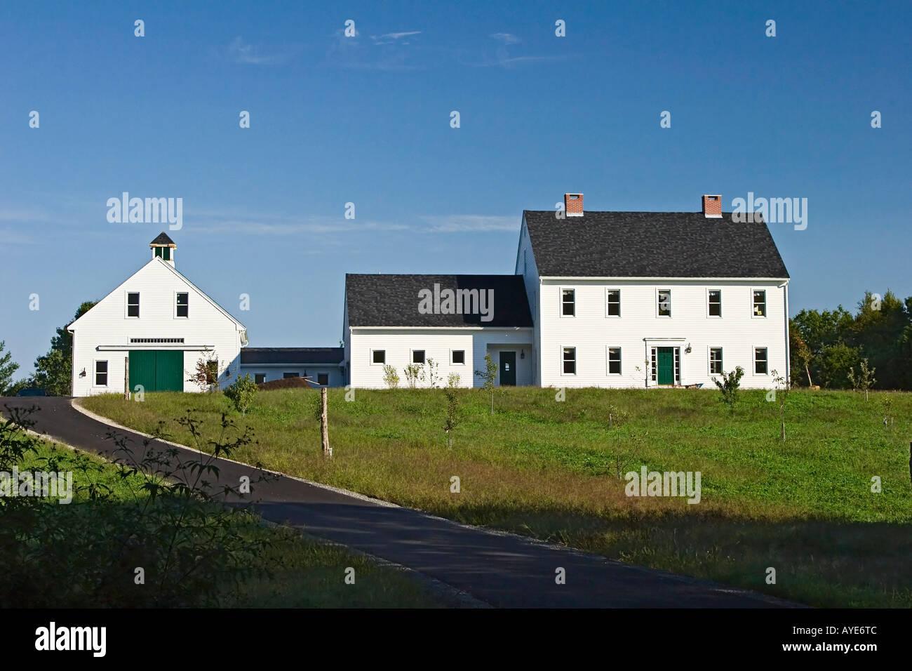 A New England Colonial Style Farmhouse Stock Photo