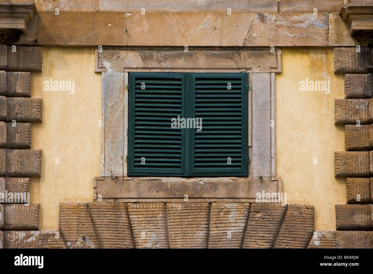 Small Window With Shutters In A Wall In Piazza San Martino