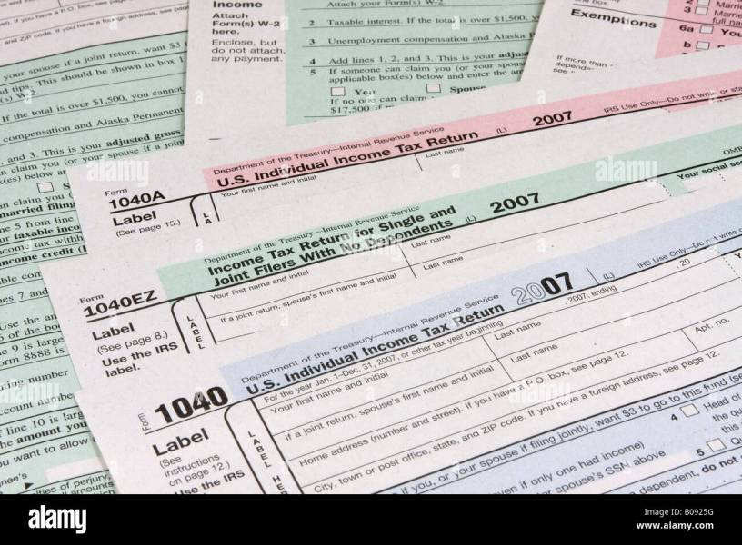 Pre printed US tax declaration forms  income tax return  USA Stock     Pre printed US tax declaration forms  income tax return  USA