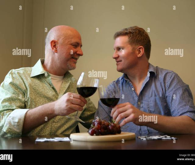 Gay Male Couple At Home Stock Image