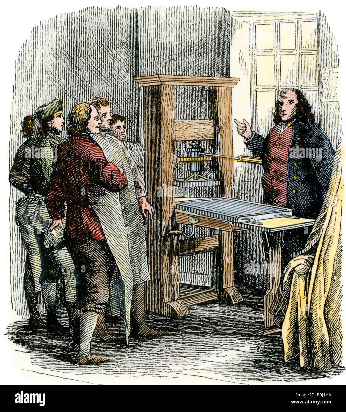 Benjamin Franklin At His Printing Press Philadelphia Hand