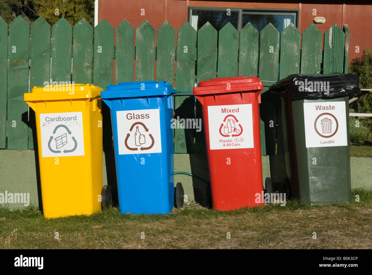 Coloured Recycling Wheelie Bins For Sorting Waste Stock