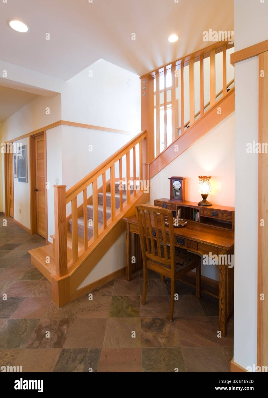 Inside View Of A Staircase In A Contemporary Craftsman Style Home | Stairs Style For Home | Creative | Inside | Spiral | Country Cottage | Living Room