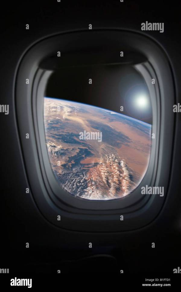 View of earth from spacecraft window Stock Photo 18173485