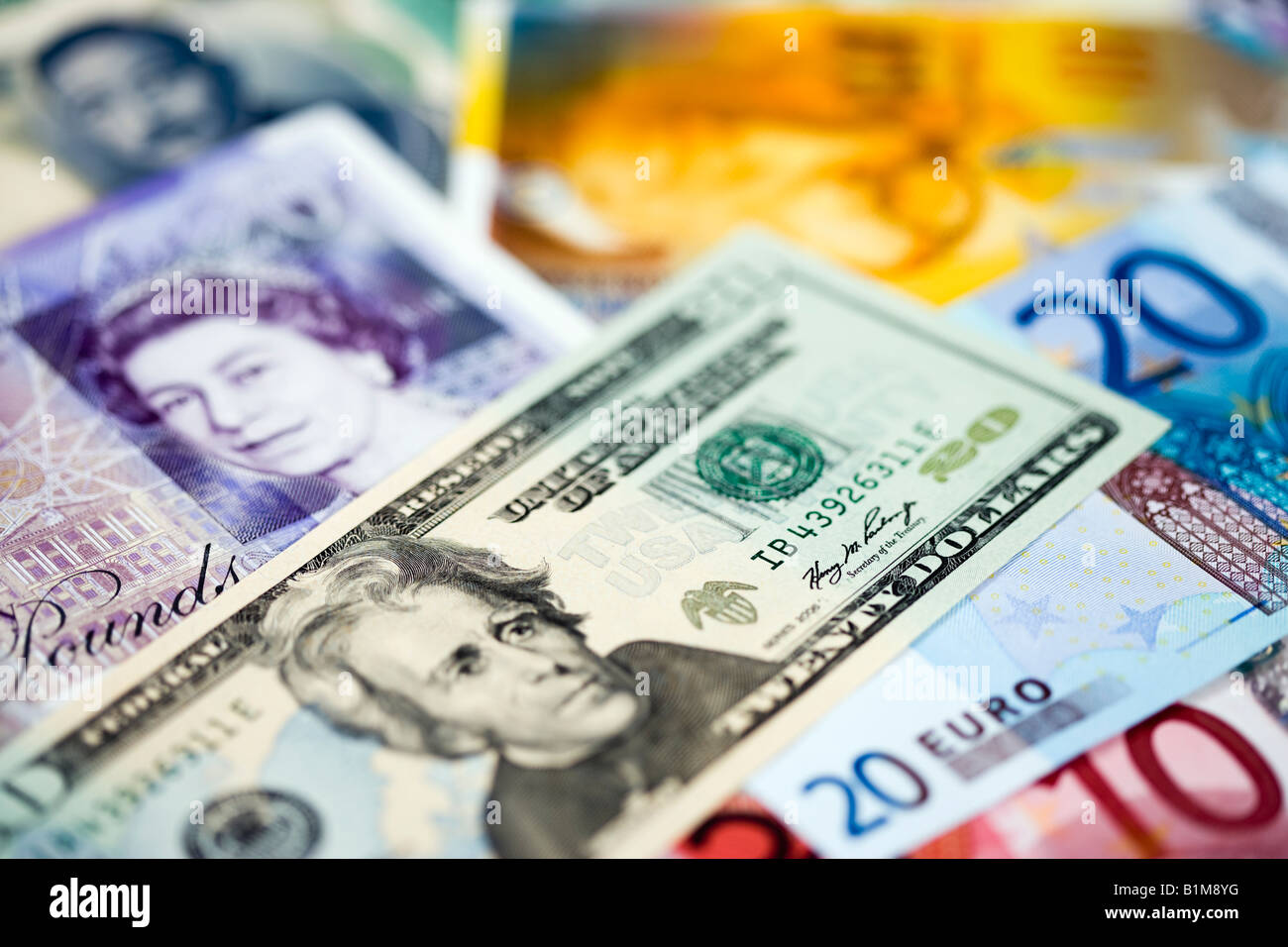 montage of international currency stirling usd and euro prominent stock image