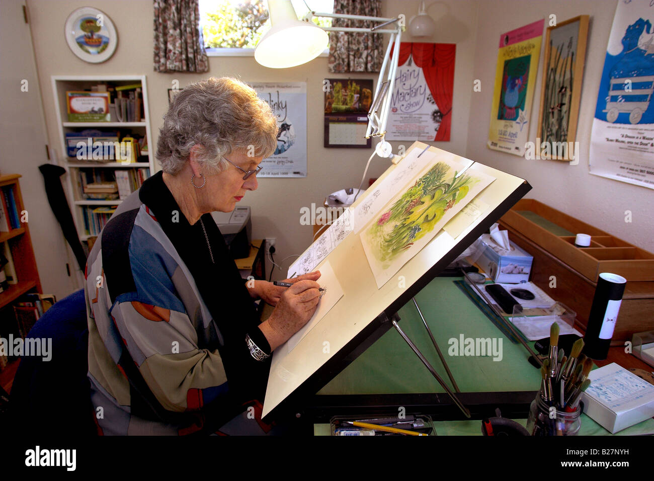 Childrens Author And Illustrator Lynley Dodd At Work In