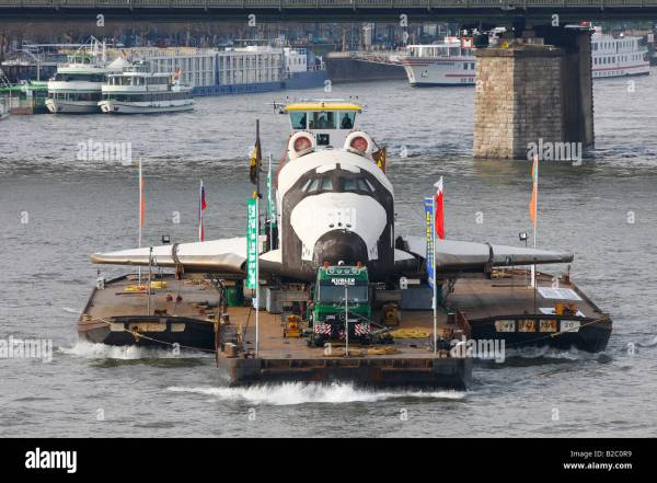 Russian space shuttle space ship Buran on the Rhine on