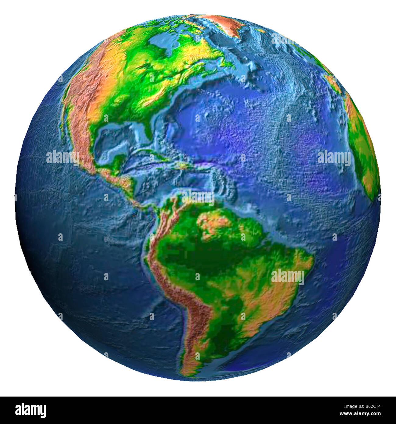 Earth Globe Showing Western Hemisphere In Relief Stock