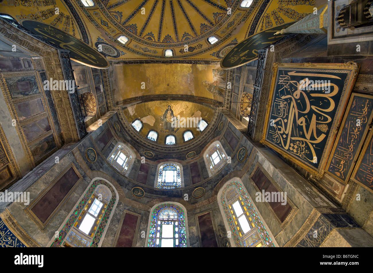 Interior View Of The Hagia Sophia Apse Mosaic Of The Theotokos Stock Photo Royalty Free Image