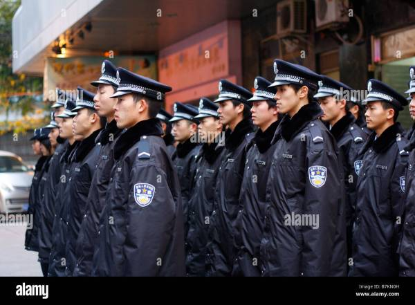 Guangzhou Chinese Police Officers in formation Stock Photo ...