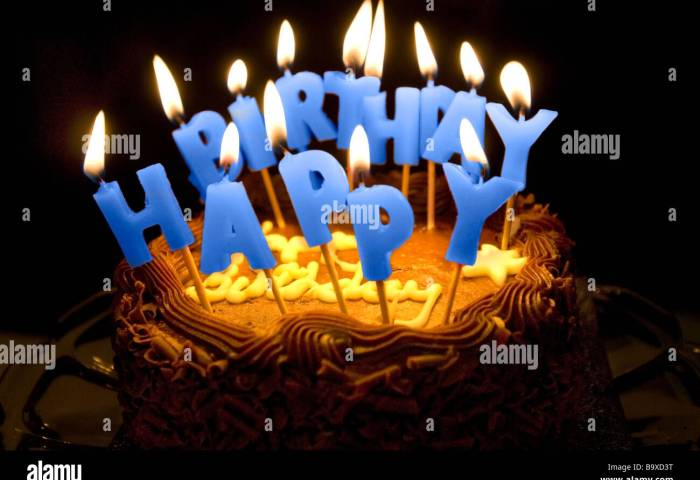 A Birthday Cake With Lighted Letter Candles Spelling Happy Birthday
