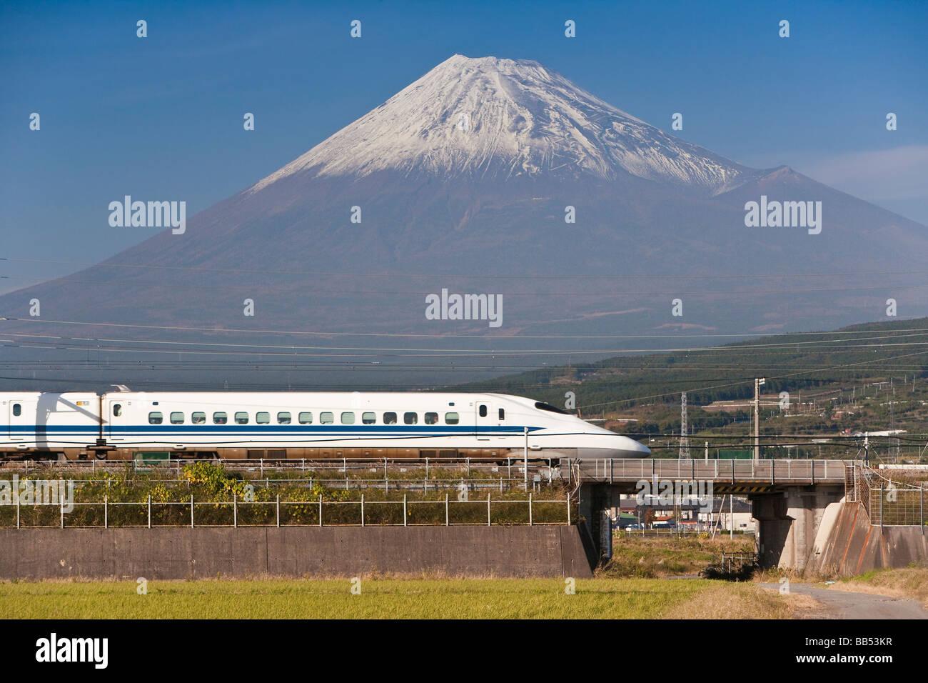Shinkansen Japanese Bullet Train And Mount Fuji Houshu Japan Asia Stock Photo