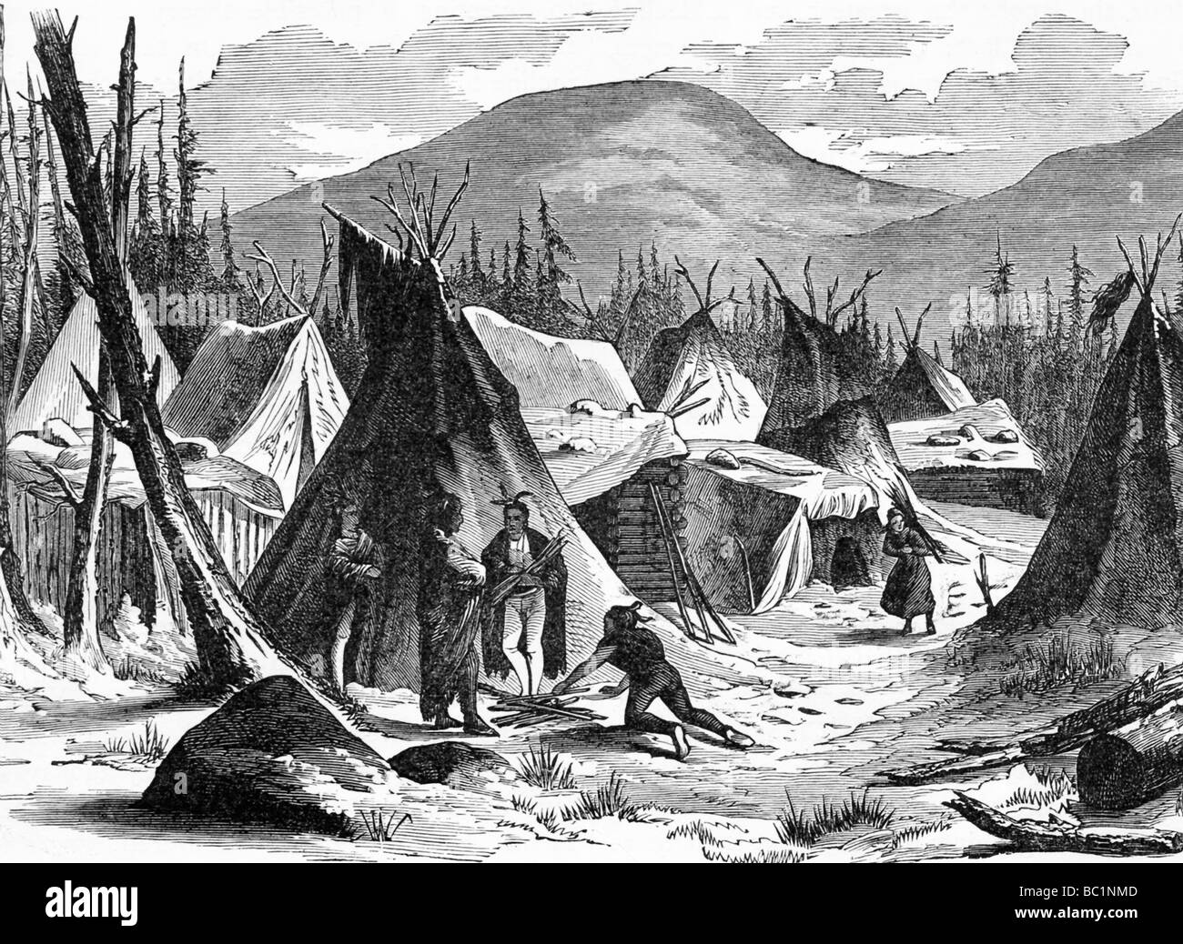 This S Illustration Shows A Native American Village In