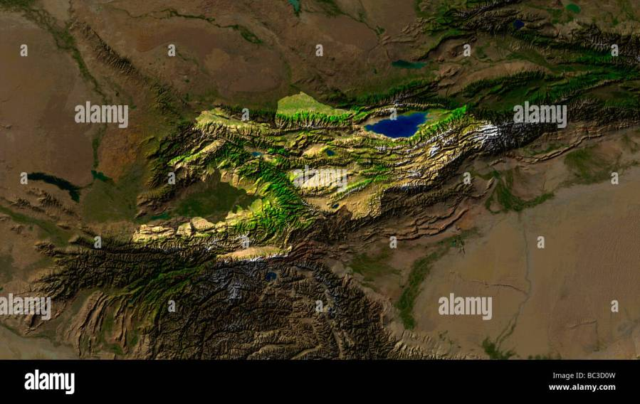 Map Satellite Geography Kyrgyzstan Stock Photos   Map Satellite     satellite image of kyrgyzstan with surrounding countries darkened   Stock  Image