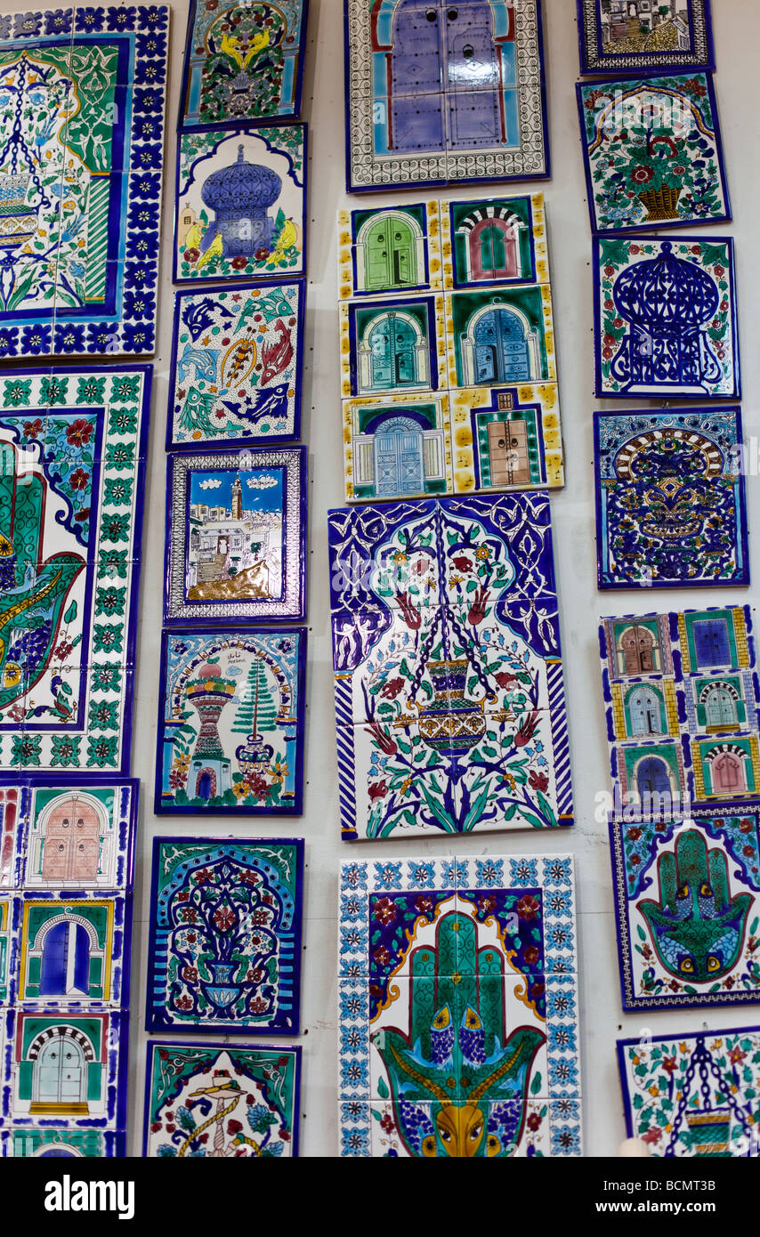 https www alamy com stock photo shops in the tunis medina old city display painted ceramic tiles for 25044191 html
