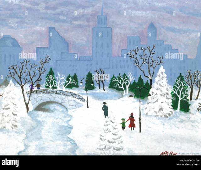 Winter Walk In Central Park New York City Original Oil Painting By C Caroline P Digonis