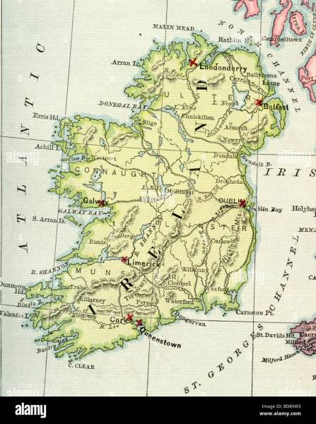 Original old map of Ireland from 1875 geography textbook Stock Photo     Original old map of Ireland from 1875 geography textbook