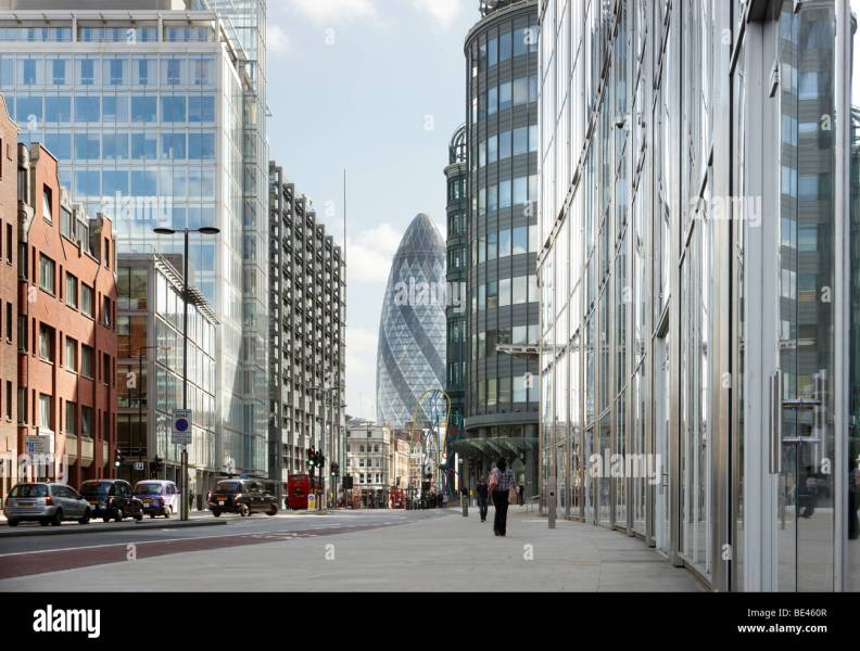 London Street View Stock Photos   London Street View Stock Images     City of London street view Commercial street Swiss Re tower   Stock Image