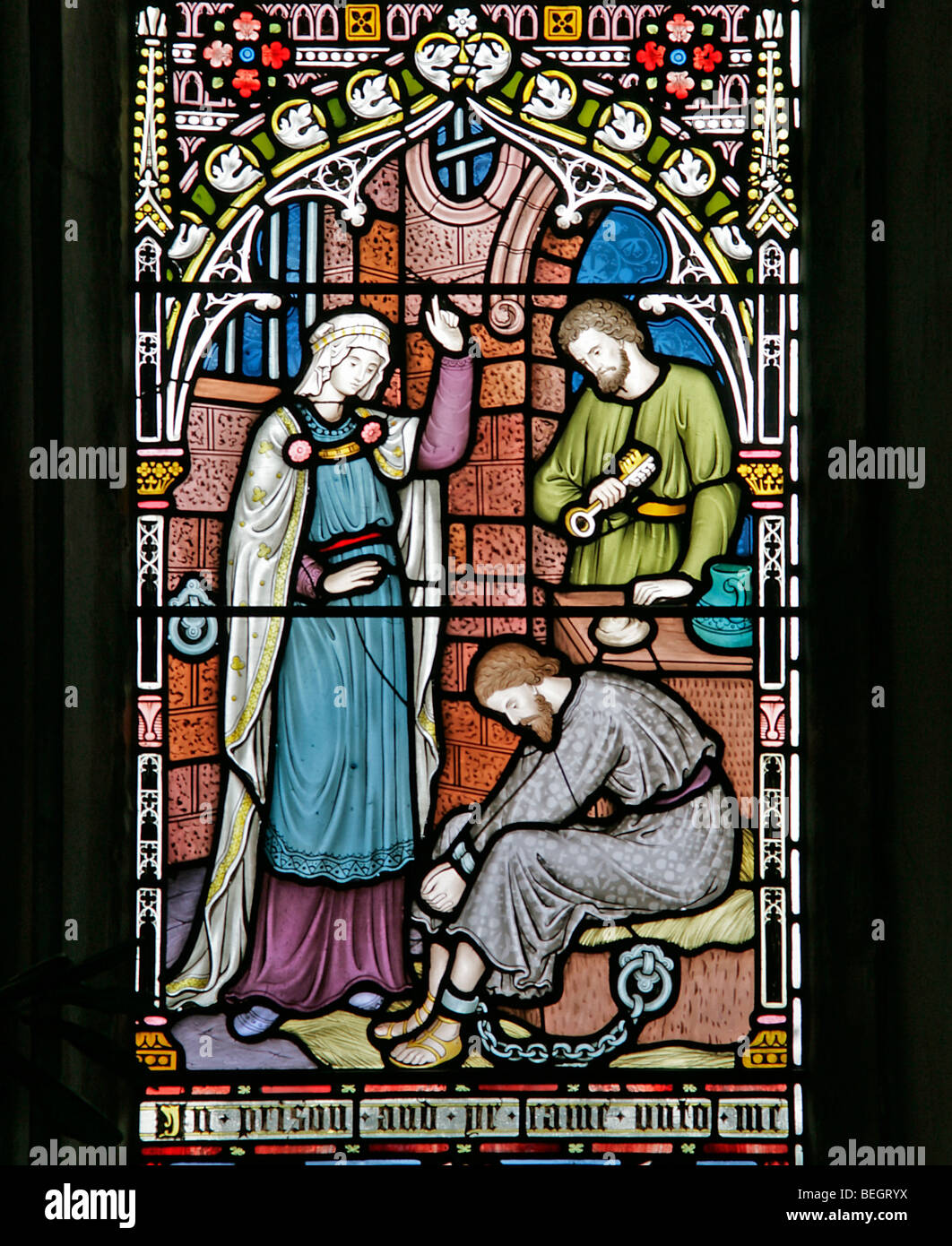 A Stained Glass Window Depicting The Parable Of The Sheep