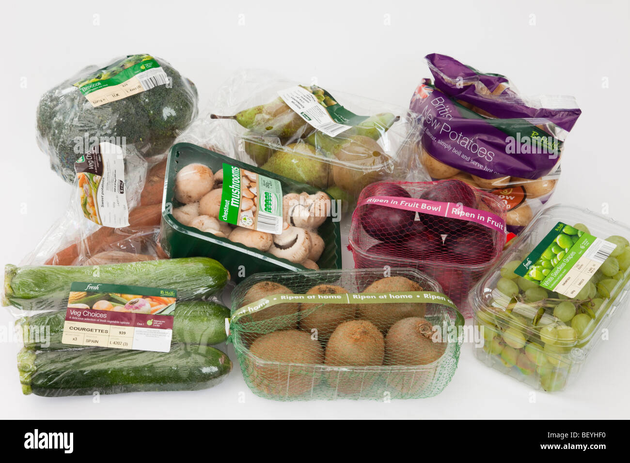 Britain, UK, Europe. Selection of fruit and vegetables ...
