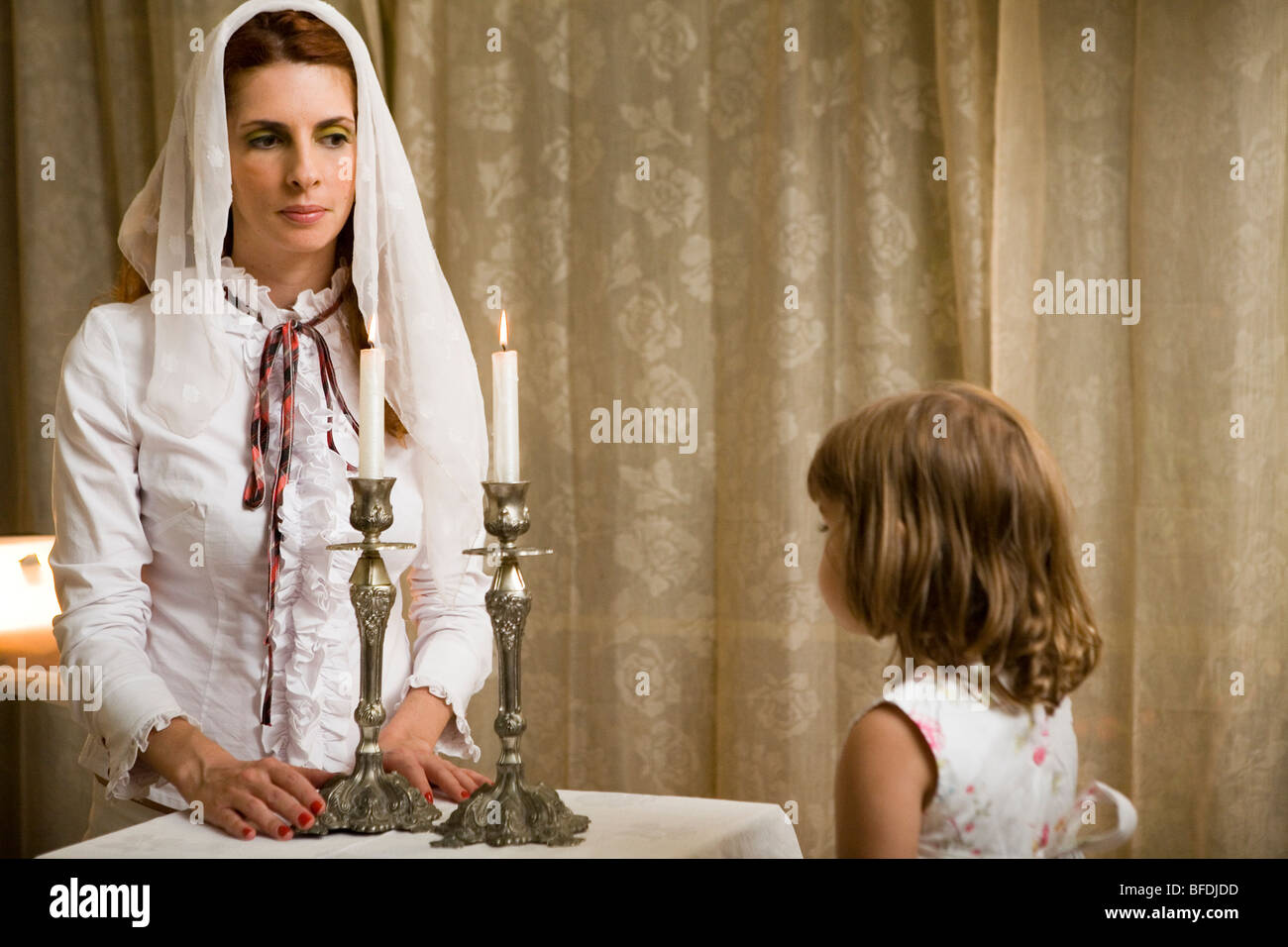 https www alamy com stock photo mother and daughter lighting shabbat candles 26730073 html