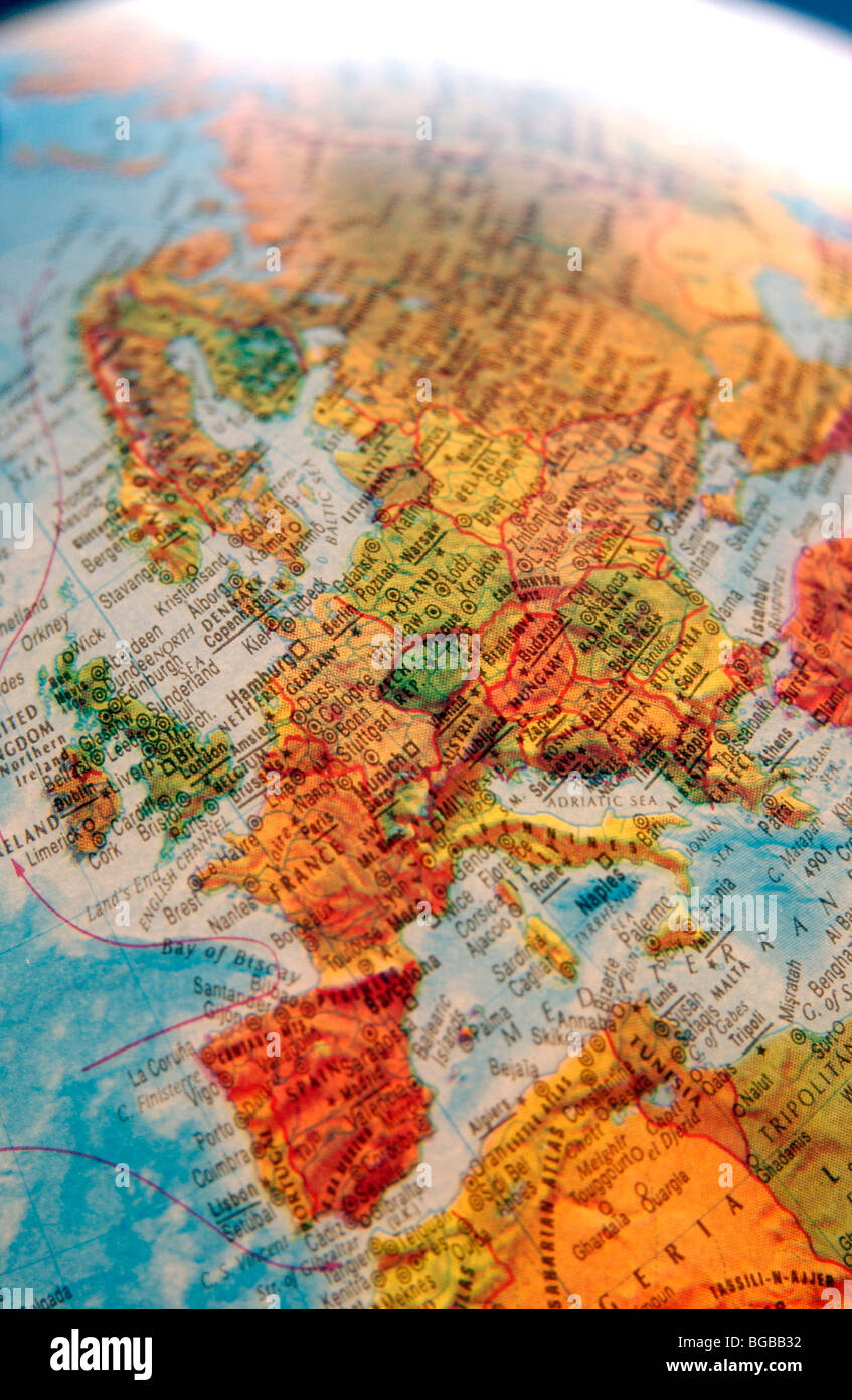 Photograph of map europe globe EU UK British countries travel Stock     Photograph of map europe globe EU UK British countries travel