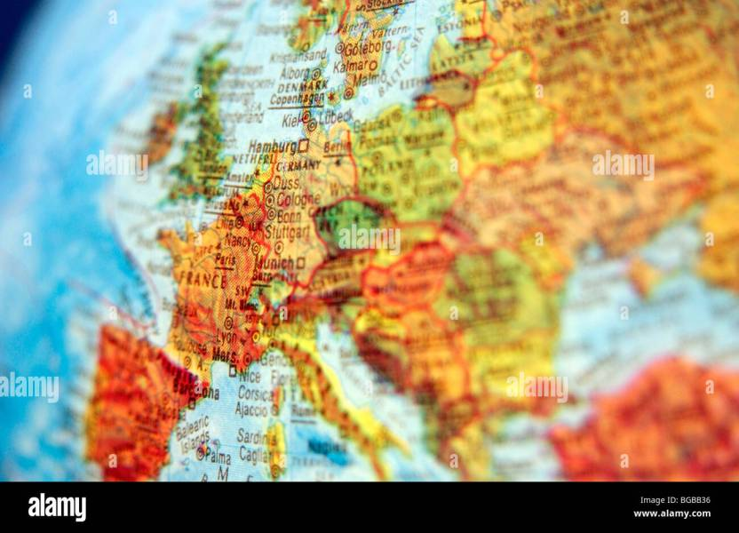 Countries Map And Europe Stock Photos   Countries Map And Europe     Photograph of map europe globe EU UK British countries travel   Stock Image