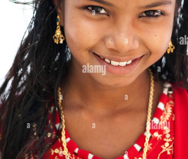 Beautiful Young Indian Girl With A Big Happy Smile Andhra Pradesh India